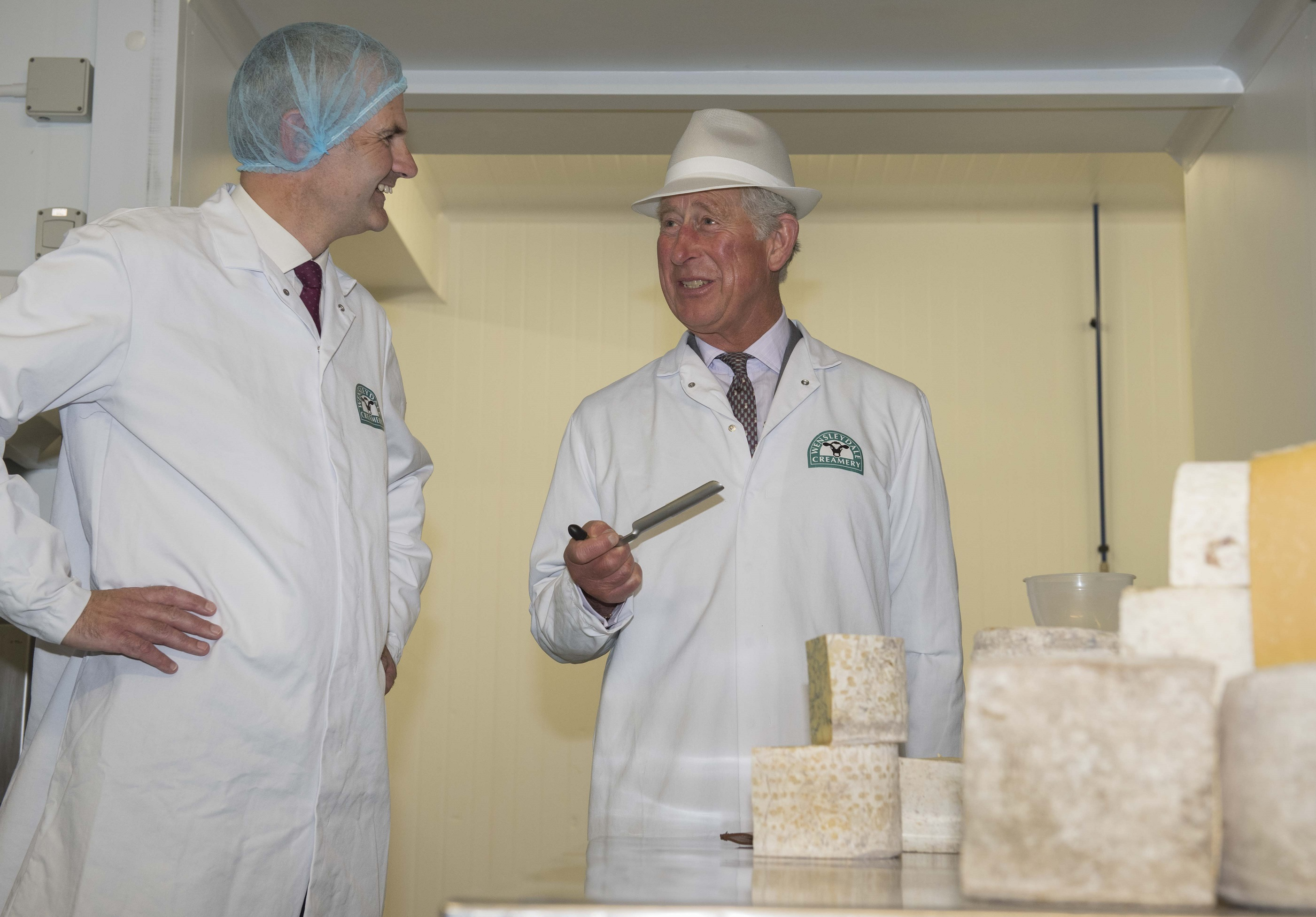 HRH The Prince of Wales Visits The Wensleydale Creamery & Sees The Art of Cheese Grading