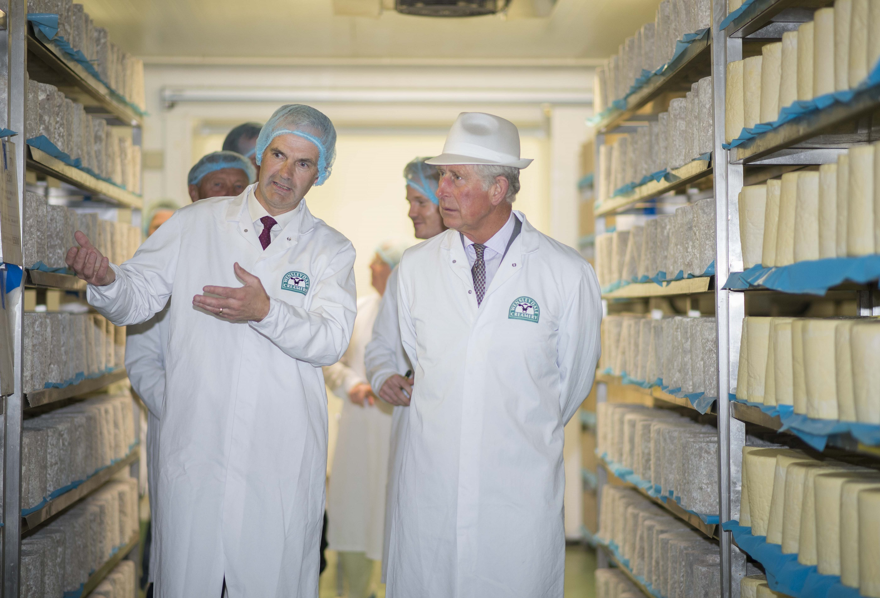 HRH The Prince of Wales Visits The Wensleydale Creamery Cheese Maturing Room
