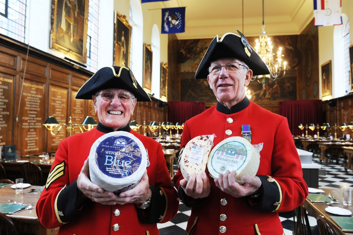 Chelsea Pensioners enjoy Yorkshire Wensleydale cheese