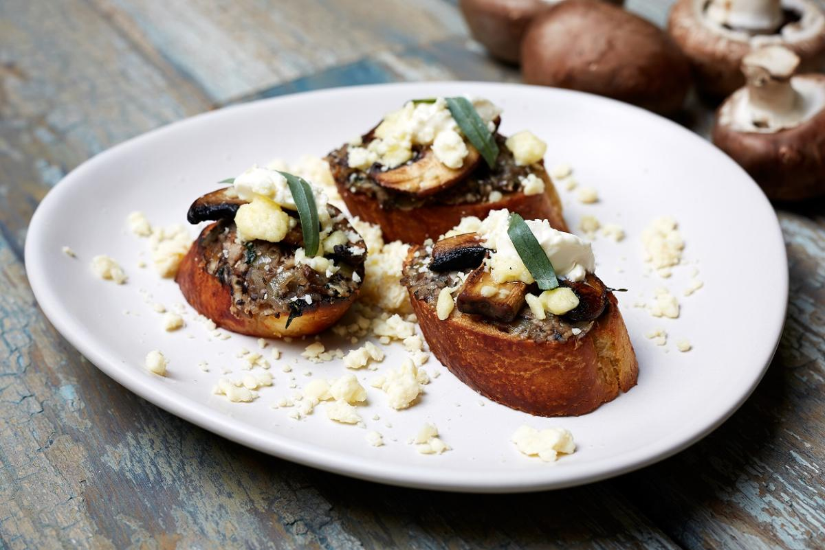 Chestnut Mushroom Bruschetta with Yorkshire Wensleydale Cheese