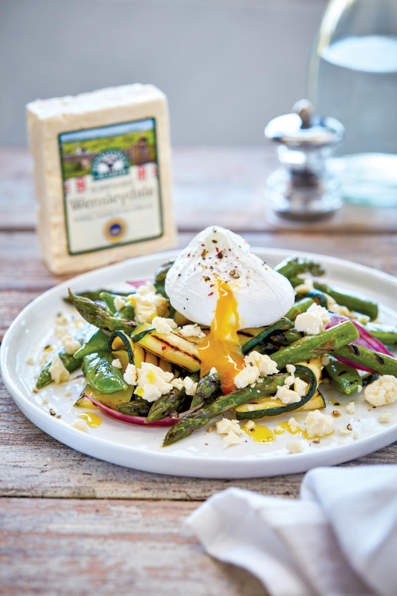 Chargrilled Summer Greens with Yorkshire Wensleydale and a Soft Poached Egg (Pack Blur)