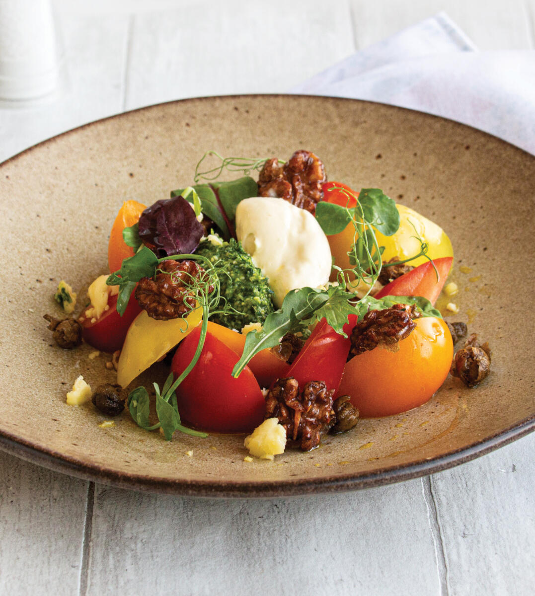 Heritage Tomato Salad with Yorkshire Wensleydale Pesto and Mousse