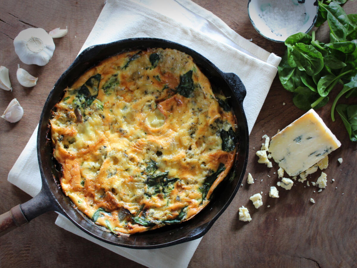 Courgette, Spinach & Wensleydale Blue Frittata